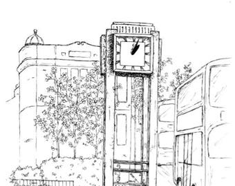 Hanwell Clock Tower A3 Print - Ealing landmarks