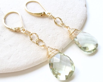 AAA Green Amethyst Earrings, AAA Prasiolite Earrings, Leverback Earrings, Mint Green Gemstone, Light Green Earrings, Prasiolite Jewelry