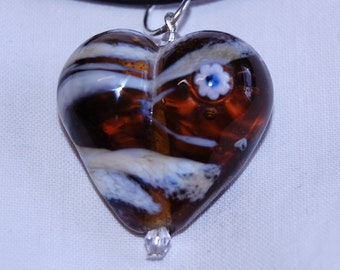 Lampwork pendant (or keyring) - Heart - amber and ivory swirl glass with flower - SRA