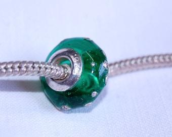 Lampwork - European charm bead - bright green and silver  - SRA