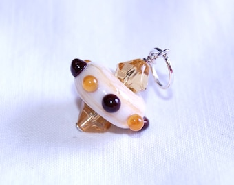 Lampwork pendant or keyring - UFO - ivory and amber glass  - SRA