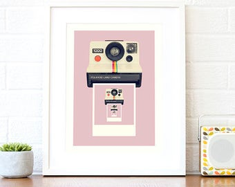 Gifts for her, pink wall art, pink home decor, pink art print, camera geek gifts, gift for teenagers, pink camera art, camera poster A4 A3