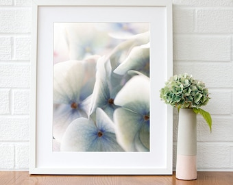 Floral wall art prints Blue hydrangea flower macro photography prints Gift for her Gift for sister Gift for mum Gift for women Bedroom decor