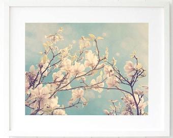 Magnolia wall art print - Pastel decor - Pastel pink botanical wall art print - Pastel blue magnolia photography