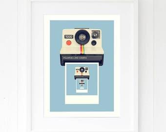 Camera print, retro wall art, retro camera print, retro home decor, retro style, retro photography print, blue wall art, blue home decor