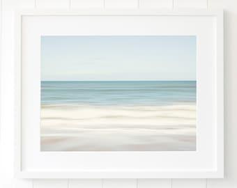 Large beach art - Blue coastal decor - Beach decor - Large ocean wall art - Beach art - Beach house decor