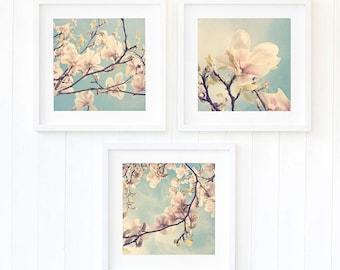 Botanical prints Magnolia floral bedroom wall art prints Spring pastel apartment decor Fine art photography Summery home decor, set of three