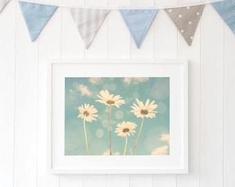 Daisy flower art - Large blue floral art - Sky blue living room decor
