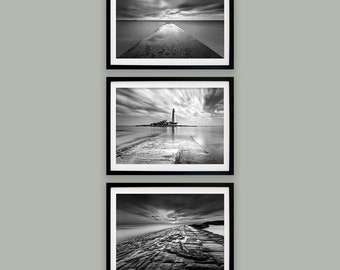 North East Fine Art Photography -  Whitley Bay - Blyth - Cullercoats - St Mary's lighthouse - Set of three prints - Coastal wall art
