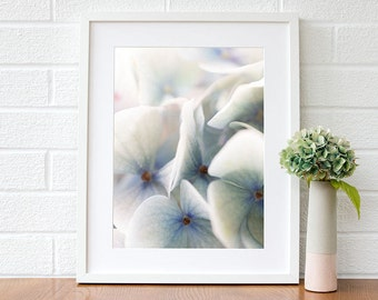 Blue Hydrangea flower print - Pastel blue bedroom wall art - Blue Floral wall art print