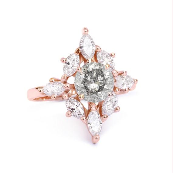 Aerolite Rustic Engagement Rings Salt And Pepper Diamond Etsy