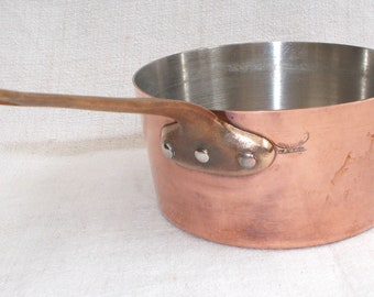 Small Copper Saucepan by Claudel Art & Cuisine Made in France. Brass handle tin lined. 14cm French Cookware. French Graduated pan (8283s)