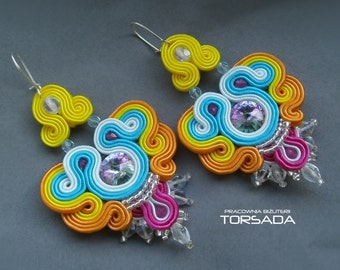 Soutache embroidery earrings, Multicolor, Rainbow,  boho earrings, long, colorful, with Swarovski crystals, hanging, braid, gift, dangle