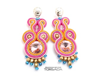 Soutache embroidery earrings, Multicolor, Rainbow,  boho earrings, long, colorful, with crystals, hanging, braid, gift, dangle, pink, orange