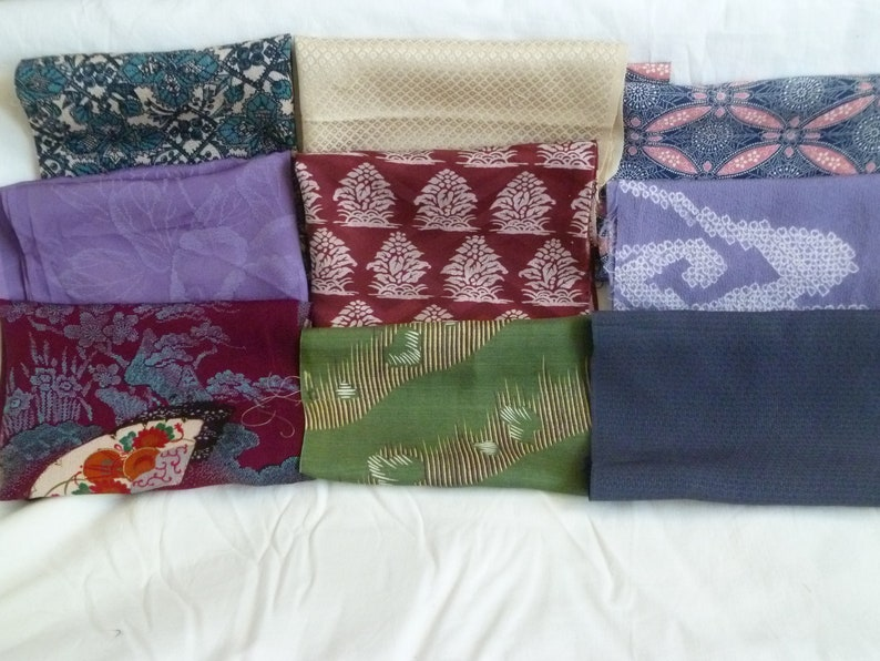 Assorted Antique  Vintage Japanese Kimono Fabric 100g Small01