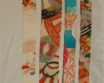Assorted Antique / Vintage Japanese Kimono Fabric 100g - long strip10