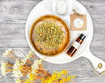 Chamomile extract plant natural serum formulation anti-inflammatory skincare mix DIY anti ageing calming sensitive skin serum toner