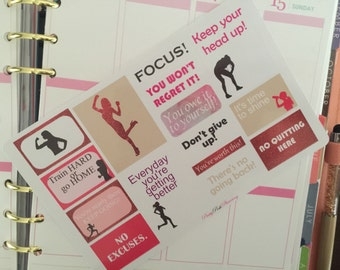 0163 Fitness health quotes tracker icons planner stickers for Erin Condren & other planners, diaries