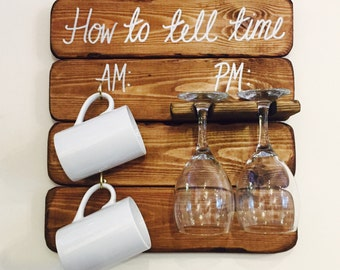 How to tell time board AM PM for mugs and glasses, perfect kitchen decor, great gift