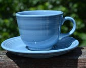 Vintage Periwinkle Blue Fiesta Coffee Cup and Saucer. Fiesta Ware. - VCMS167