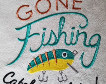 Embroidered Dish Towel - Gone Fishing