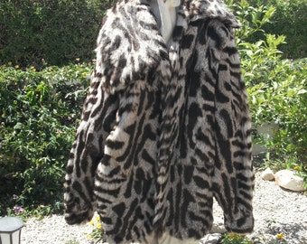 859d62987b9d2 Fur Jacket..A Statement Coat with Spotty/Tiger Stripes Printed on The  fluffiest rabbit Fur...UNIQUE & RARE