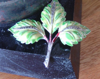 SALE..Vintage Art Deco Very Pretty Leaf brooch with Enamelling and Marcasite...A perfect combination.. Maple Leaf
