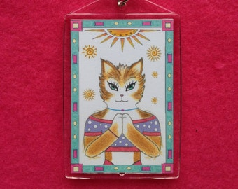 Yoga Cat Key Ring - Yoga Key Ring - Key Ring with Yoga Cat - Theres no place like OHM