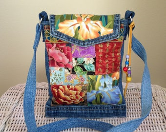 Cross Body Handbag - Boho Handbag -  Upcycled Denim Handbag - Denim Boho Handbag - One of a Kind Handbag