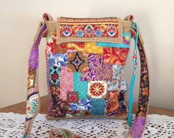 Denim Handbag - Boho Upcycled Handbag - Upcycled Handbag - Handmade Boho Handbag