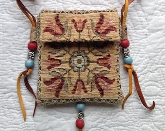 Talisman Pouch - Stash Necklace Pouch - Bohemian Amulet Bag - Boho Necklace Pouch