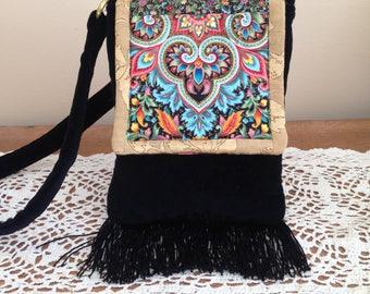 Black Velvet Handbag - Unique Handmade Velvet Handbag - Handbag of Black Velvet
