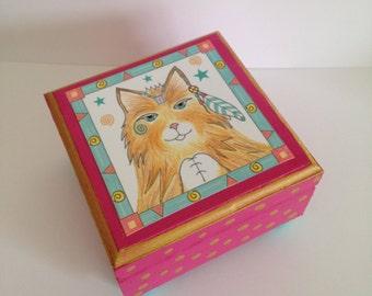 Cat Jewelry Box- Whimsical Trinket Box - Handmade Cat Keepsake Box - Wooden Keepsake Box