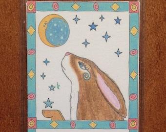 Hare and Moon Bookmark - Bookmark Hare and Moon - Rabbit Bookmark  - Moon and Hare Bookmark