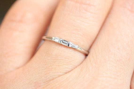 1 mm Round Cut Diamond Wedding Band 1 Minimalist Diamond Band 14k Solid Gold Real Natural Diamond Ring 3 7 /& 9 Stones Wedding Band 5