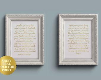 Wedding Vow Sign / Wedding Vow Keepsake / Wedding Vows Art / Wedding Vows Caligraphy / Anniversary Gift / Wedding Vow / SET OF 2 / UNFRAMED