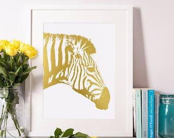 Gold Foil Zebra Print-Zebra Art-Zebra Room Decor 8x10-A4