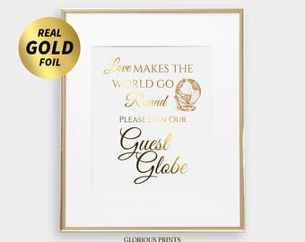 Guest Globe Sign, Gold Globe Guest Book Wedding, Love Makes The World Go Round Wedding Sign, Alternative Guest Book Sign, Globe Guest Book