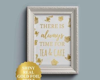 Cake Print, Kitchen Art, Kitchen Wall Art, Gold Foil Art, Cupcake Print, Kitchen Decor, Cake Wall Art, Housewarming Gift, Cupcake Quote