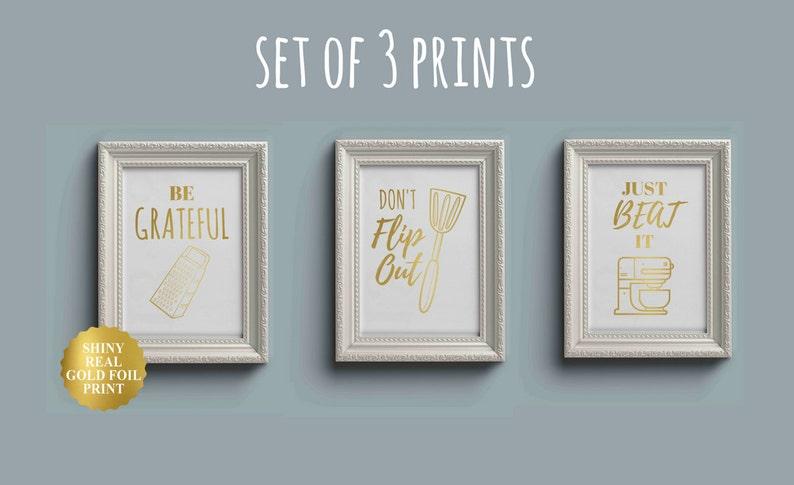 set of 3 prints set of 3 kitchen wall art funny kitchen art | etsy