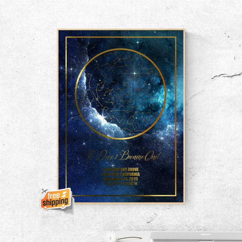 CUSTOM STAR MAP Wall Art Print, Map of the Stars, Personalized Wedding  Gift, Star Map Print, First Anniversary Gift for Him in Gold Foil