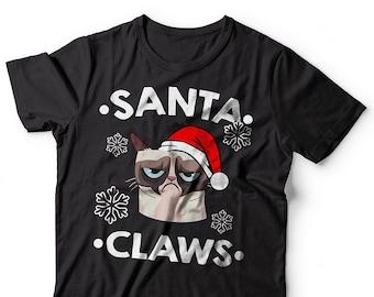 Santa Claws T-Shirt Funny Christmas Grumpy Cat Tee Shirt