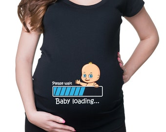 Funny Pregnancy T-shirt Maternity Top Pregnancy Baby loading T-shirt Cute Maternity T-shirts