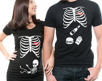 Couple Maternity T-Shirts Halloween Costume Skeleton Baby Dad Maternity Pregnancy T-Shirts