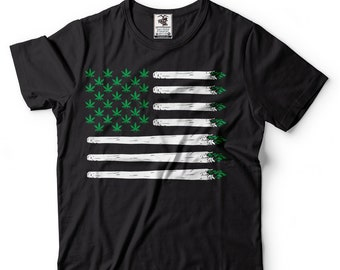e6a6b9b254 USA Weed Flag Cannabis T-shirt Marijuana Day T shirt Cannabis Leaf Weed Pot  Smoker Shirts