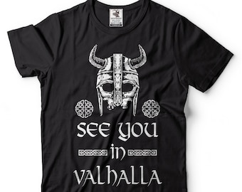 678586c31b5 See You In Valhalla T-Shirts Viking Skull Symbol Scandinavian Runes Valhalla  Tees Viking Gods Shirt