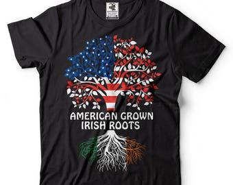 dd4ba99aa3eb1 American Grown Irish Roots T-Shirt American Irish Patriotic Tee Shirt