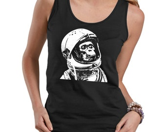 44b2ea2fe34072 Chimp Astronaut Tank Top Space Funny Ladies Tank Top