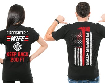 f3b50599b Firefighter T-shirts Couple Firefighter Wife T-Shirts firefighter gift for  him Funny Wife Hubby Couple Tees Valentines Day Gifts
