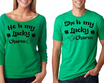 7b8349df6 St Patrick's Day Matching T-shirt St Patricks Day Couple Tee Shirt Clover Tees  Shenanigans Photo Shoot Idea Ireland Party T-shirts Charm